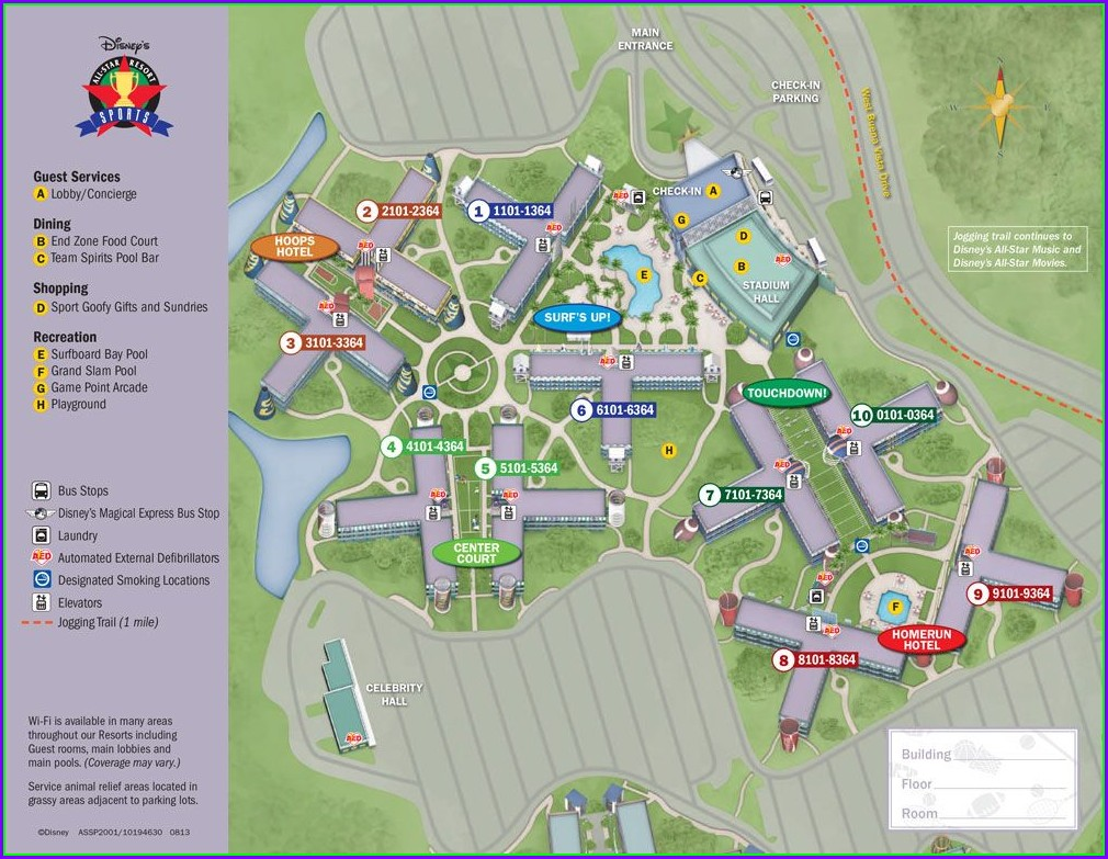 All Star Sports Resort Map Preferred Rooms
