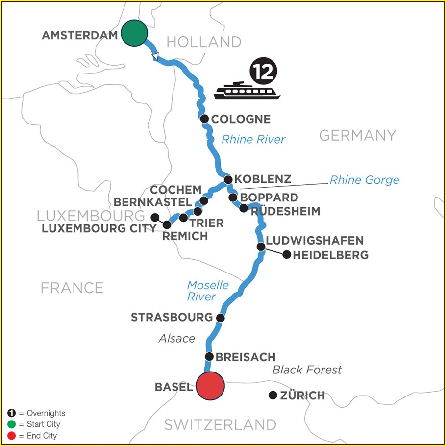 Amsterdam To Basel River Cruise Map
