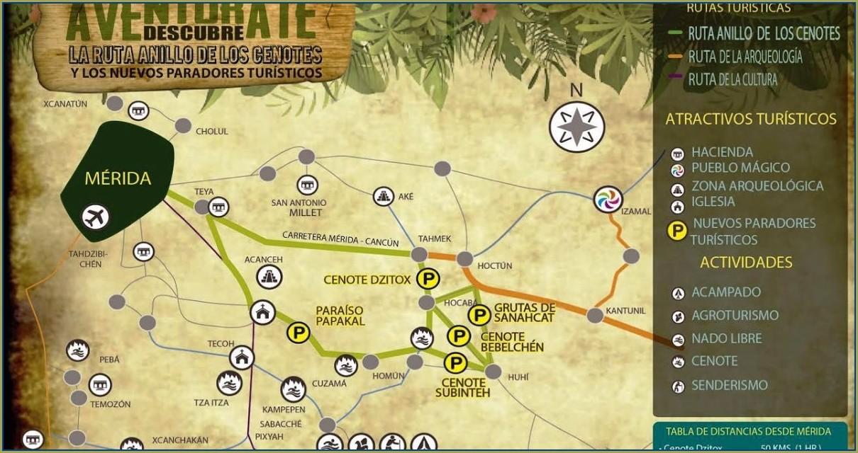 Anillo De Cenotes Yucatan Mapa