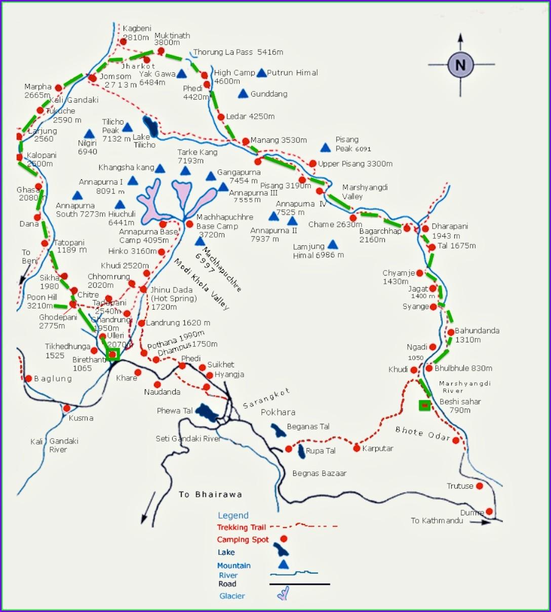 Annapurna Circuit Map Distance