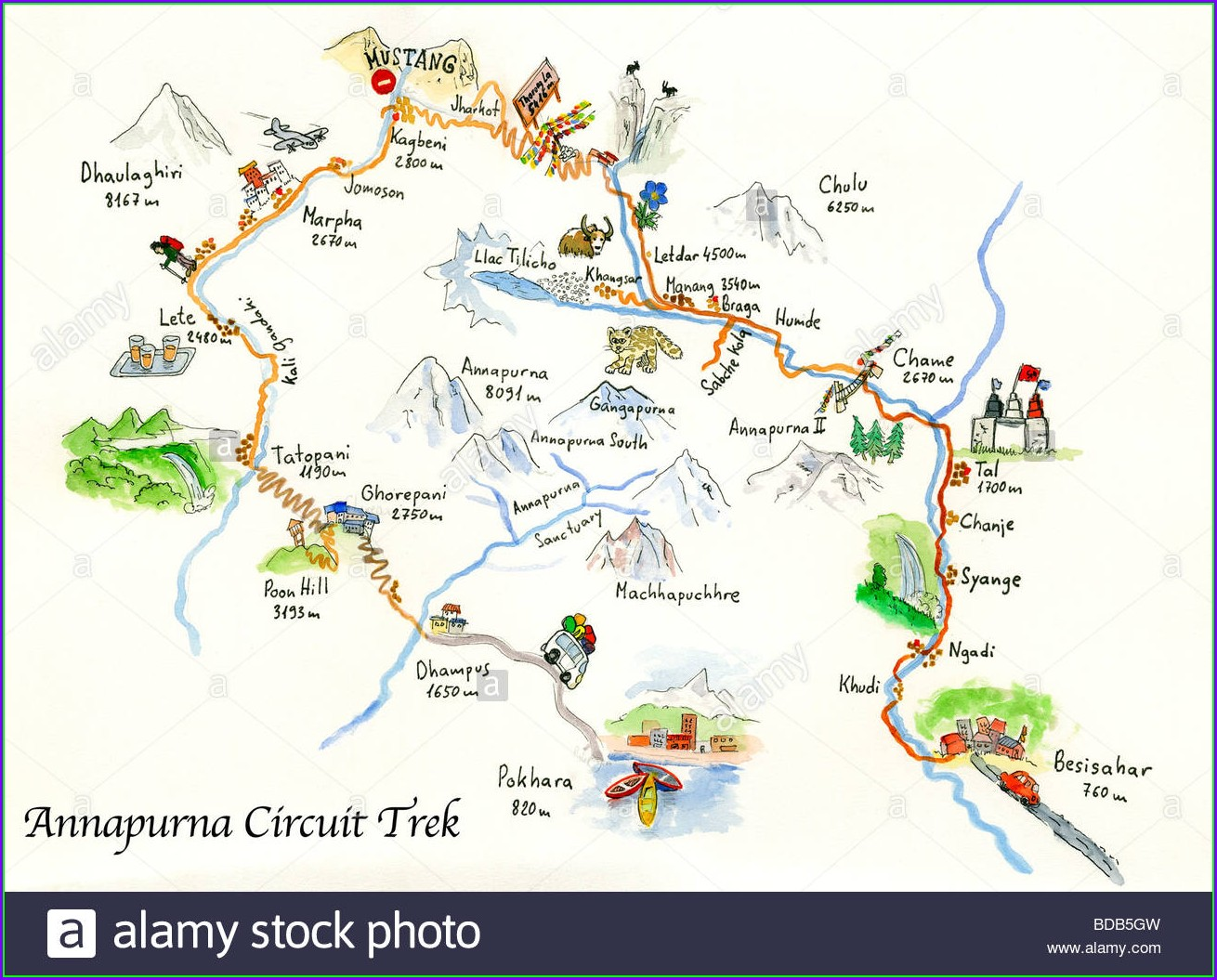 Annapurna Circuit Map Download