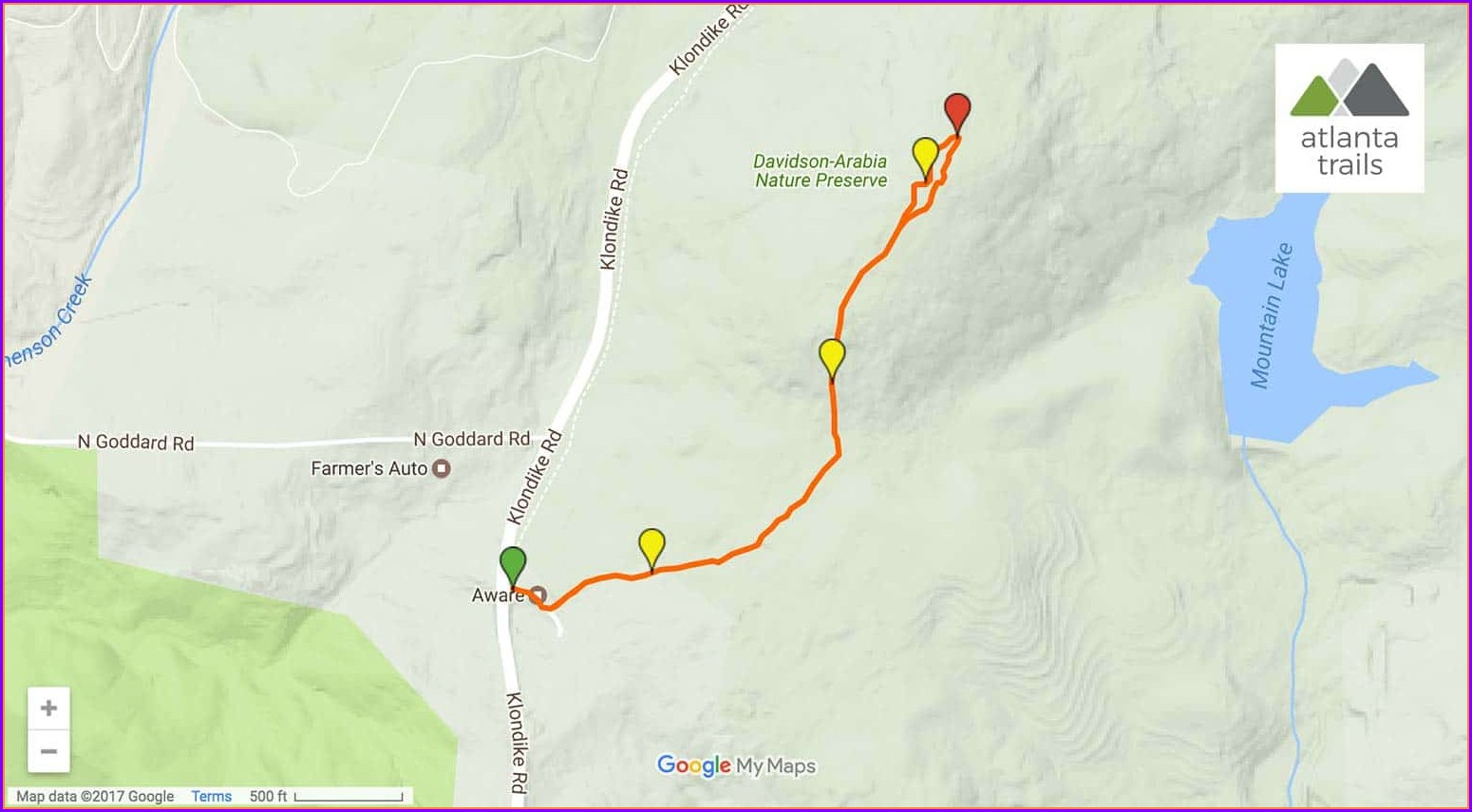 Arabia Mountain Trail Map
