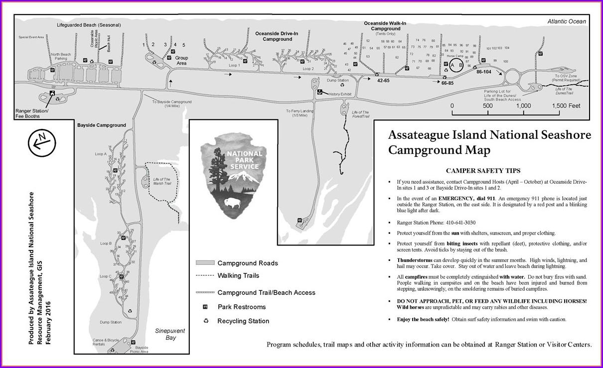 Assateague Island Camping Site Map
