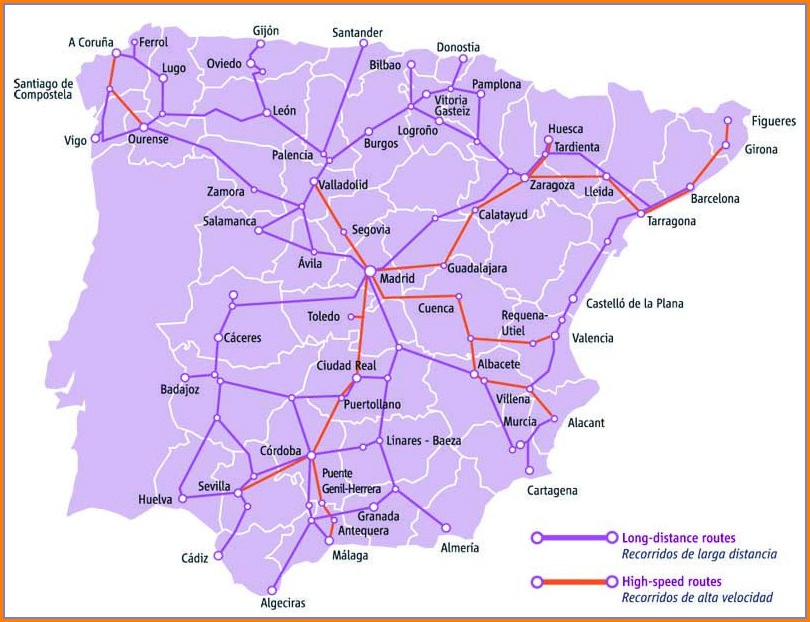 Ave Trains Spain Route Map