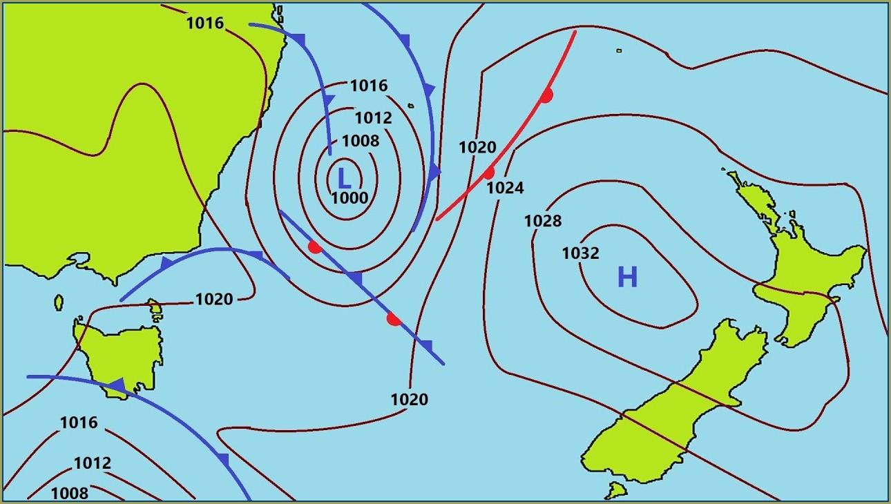 Barometric Pressure Forecast Map