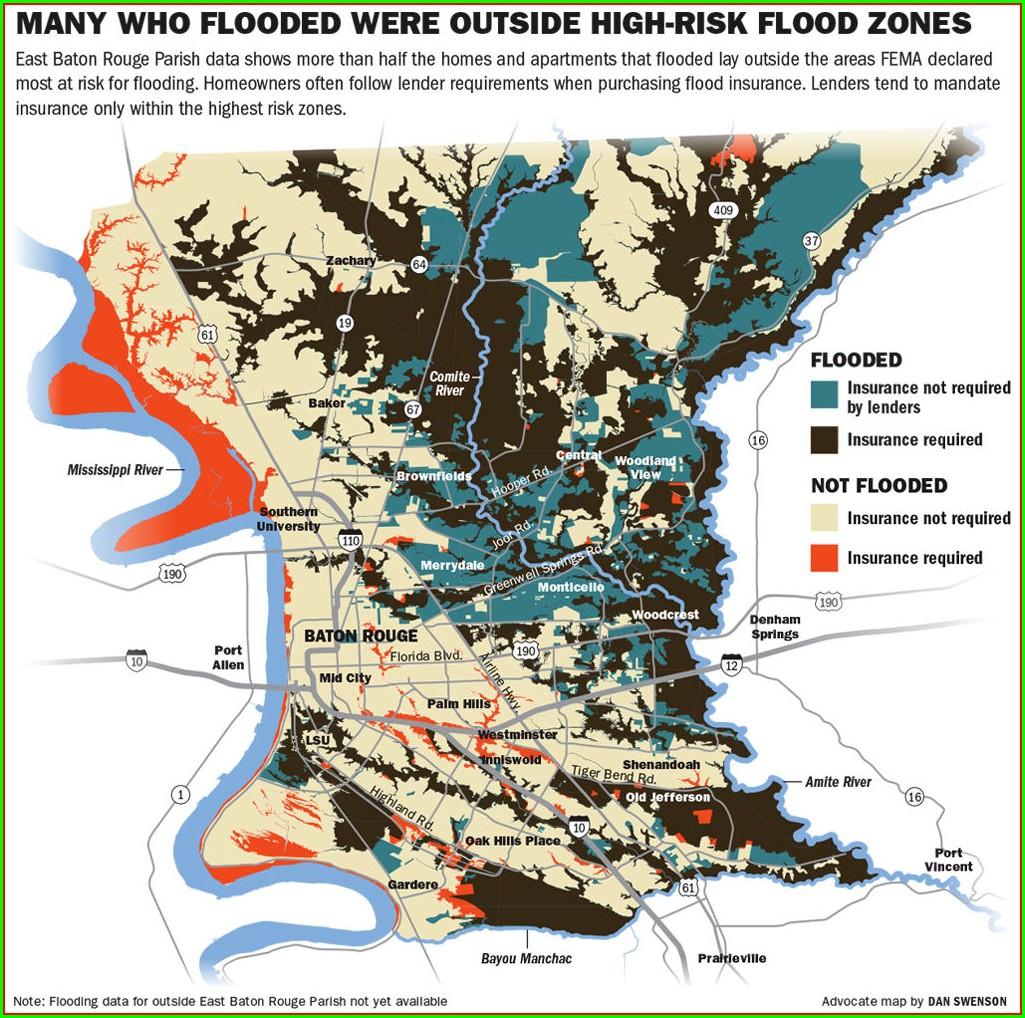 Baton Rouge Flood Map 2016
