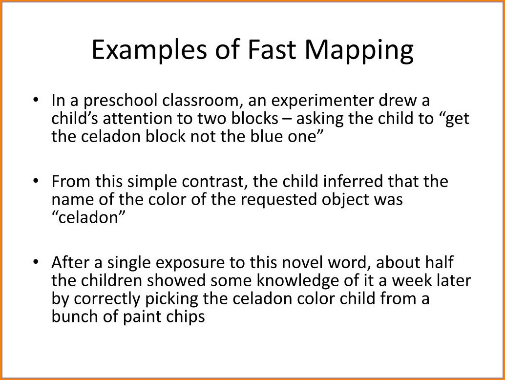 Because Of Fast Mapping A Preschooler