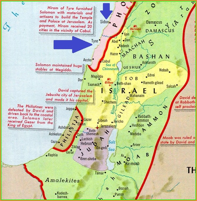 Bible Map Tyre And Sidon