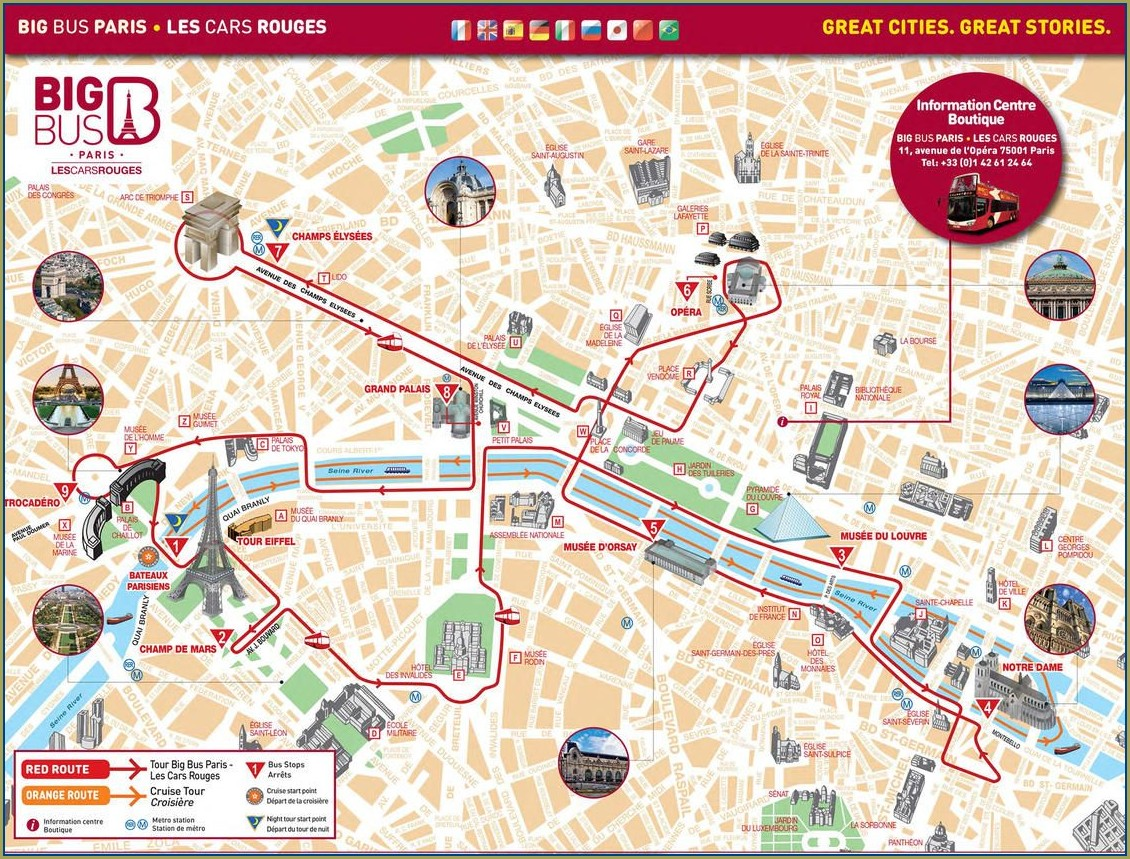 Big Bus Paris Route Map