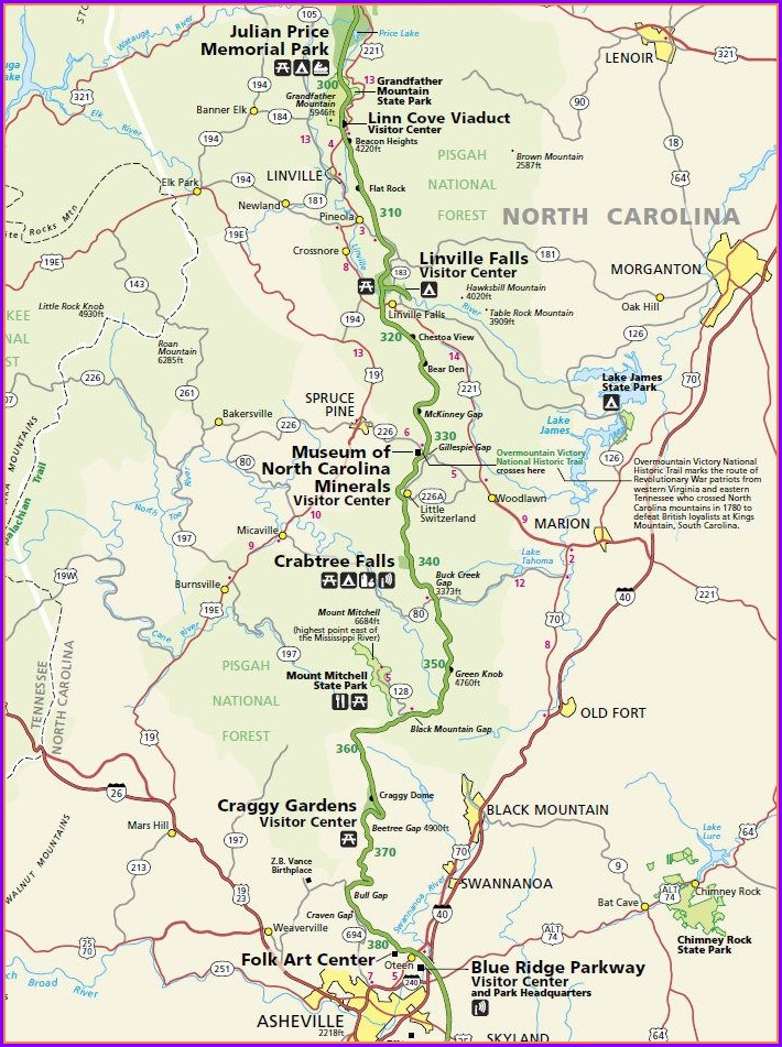 Blue Ridge Parkway Asheville Map