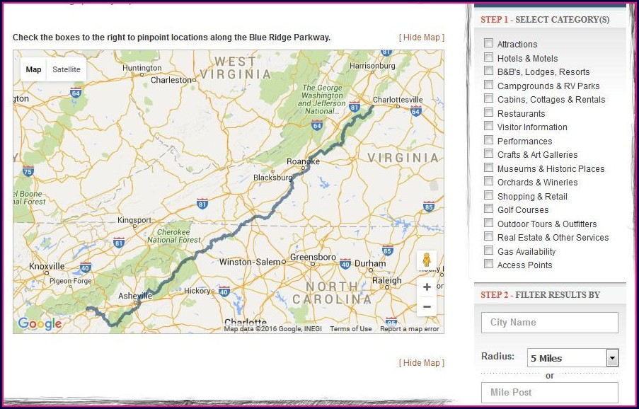 Blue Ridge Parkway Interactive Map
