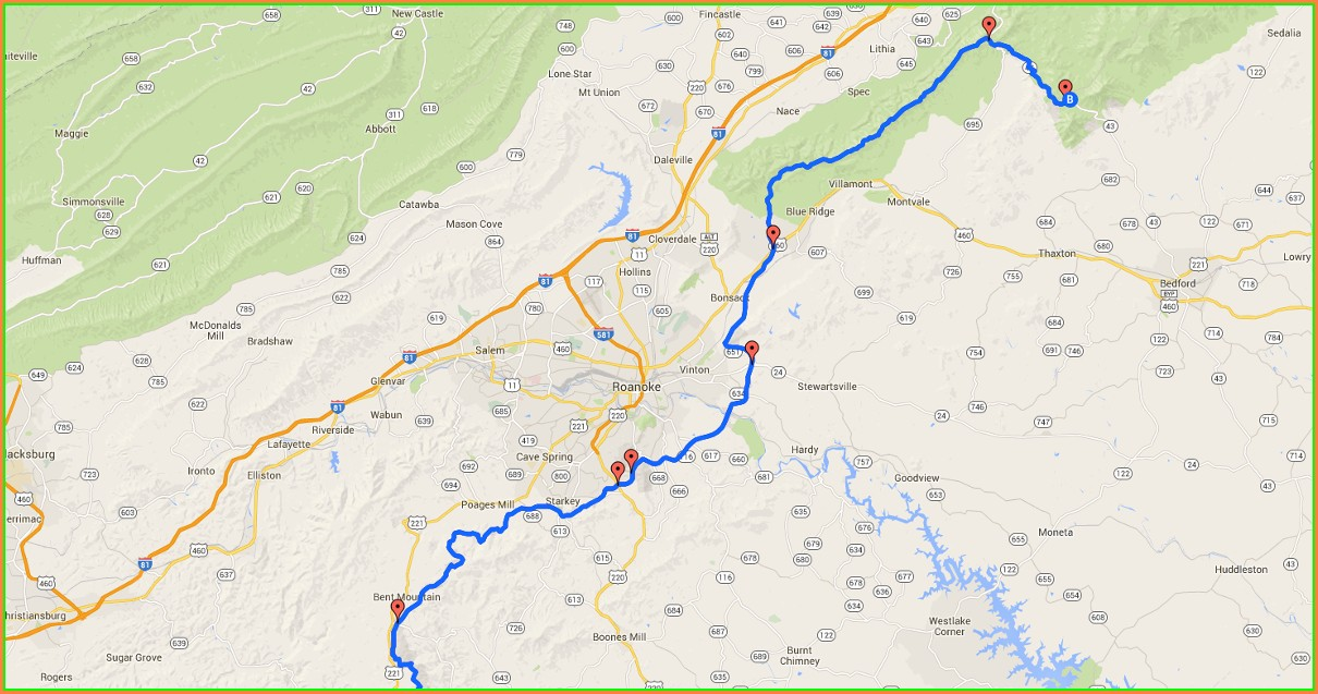 Blue Ridge Parkway Map With Mile Markers Virginia