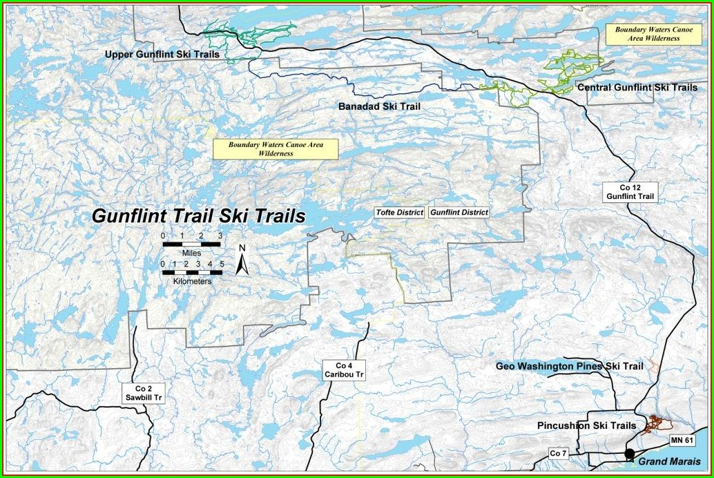 Boundary Waters Map Gunflint Trail