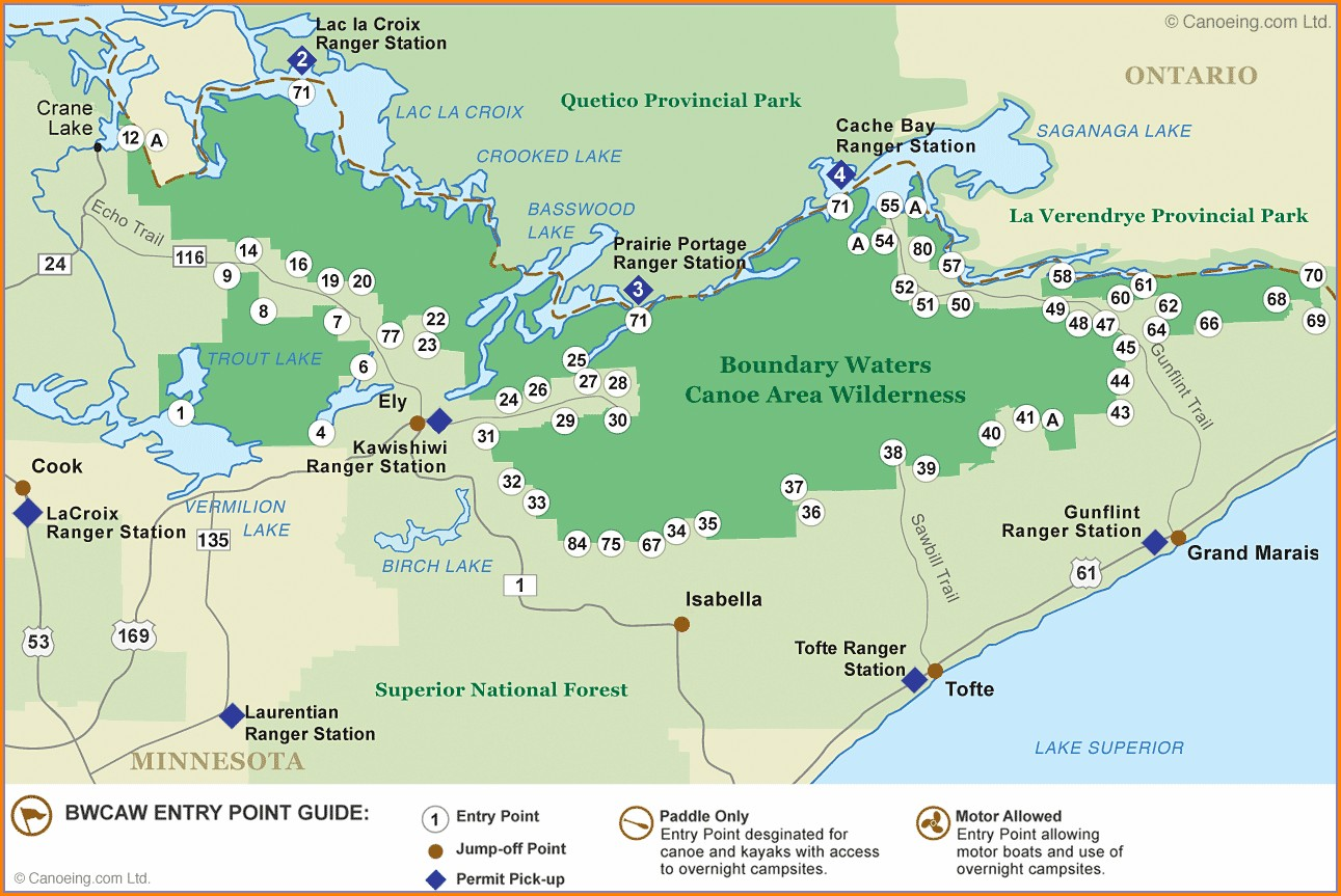 Boundary Waters Map With Portages