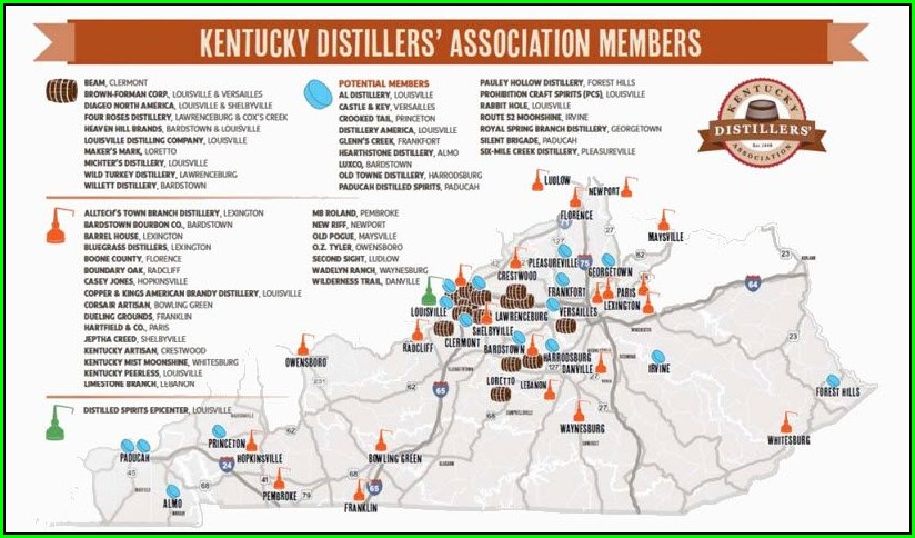 Bourbon Distillery Map Kentucky
