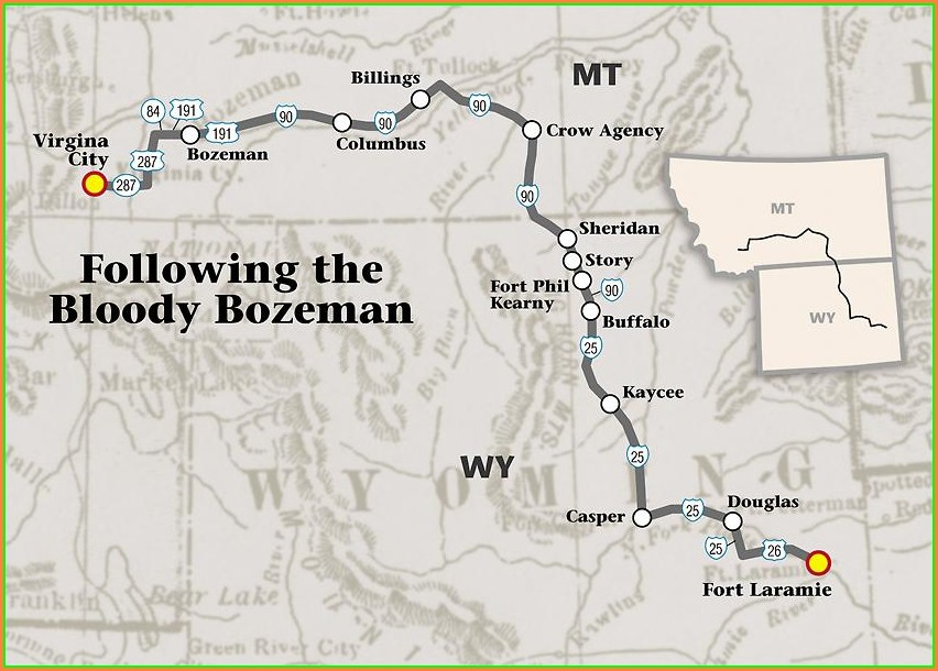 Bozeman Trail Map Wyoming