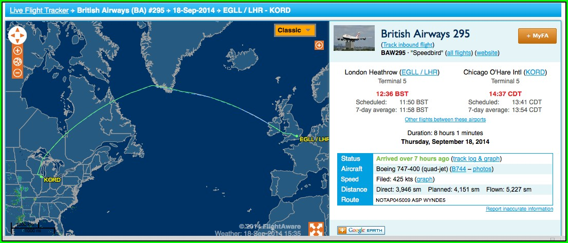 British Airways Flight Tracker Map