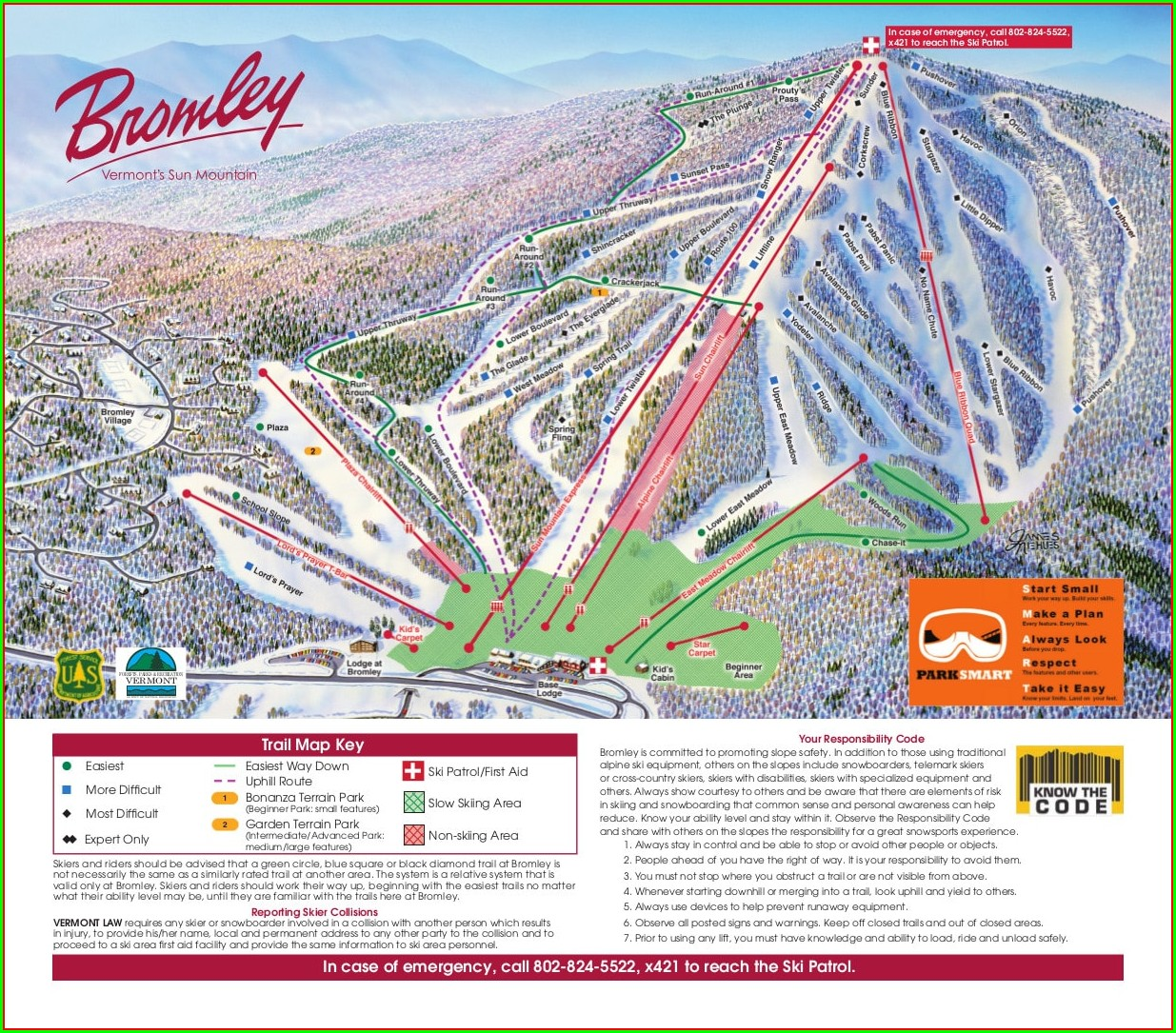 Bromley Mountain Trail Map