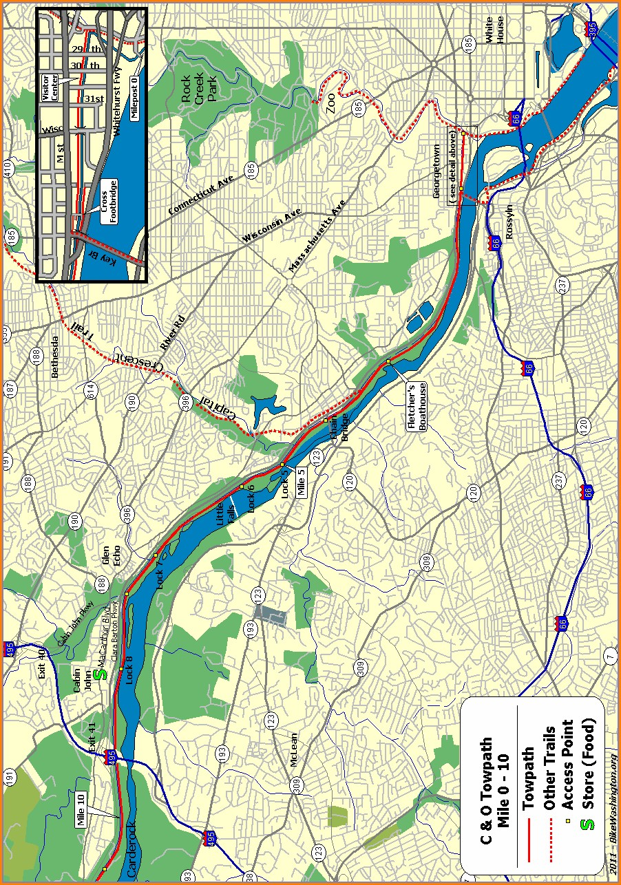 C O Canal Map With Mile Markers