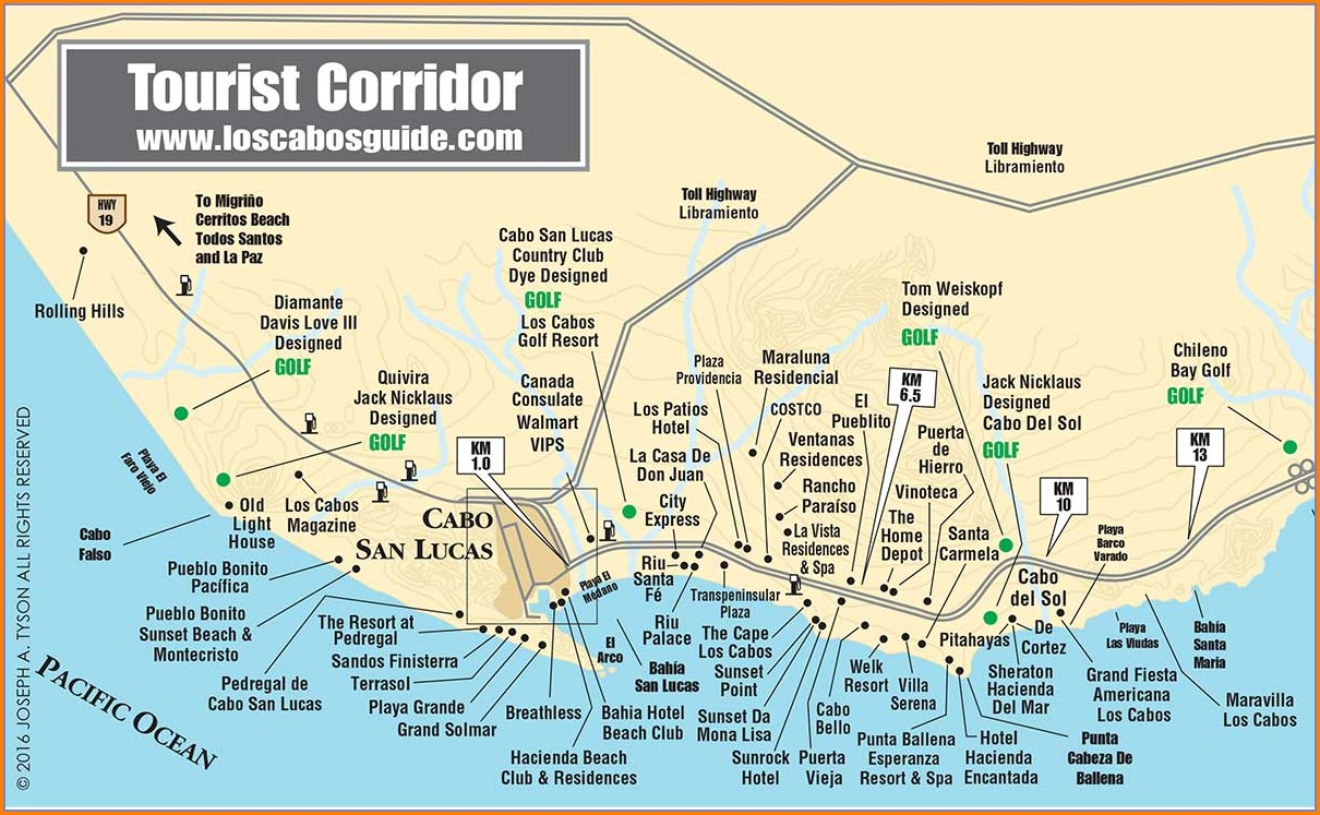 Cabo Hotel Map Medano Beach