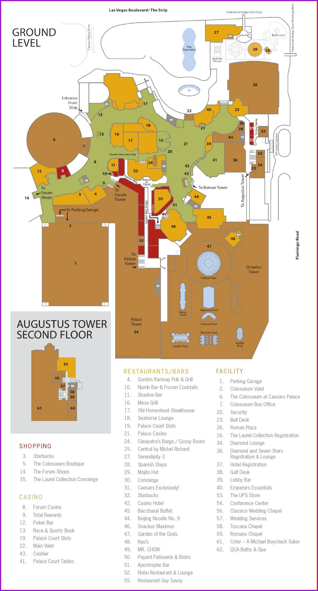 Caesars Palace Las Vegas Property Map
