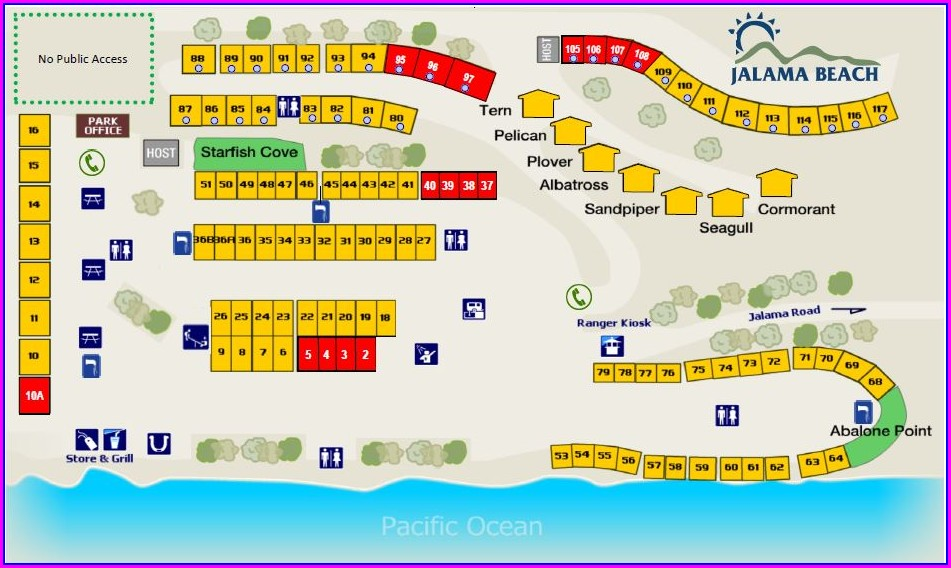 Campground Jalama Beach Camping Map