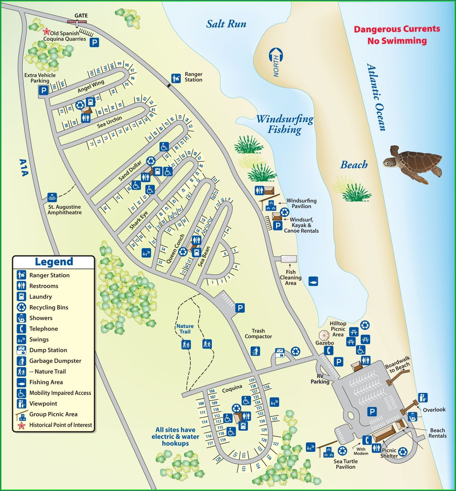 Campsite Myrtle Beach State Park Campground Map