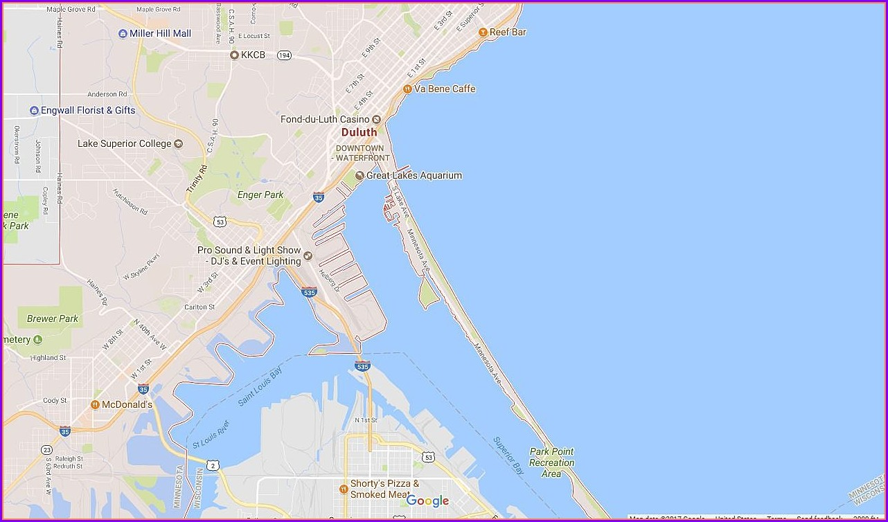 Canal Park Hotels Duluth Mn Map