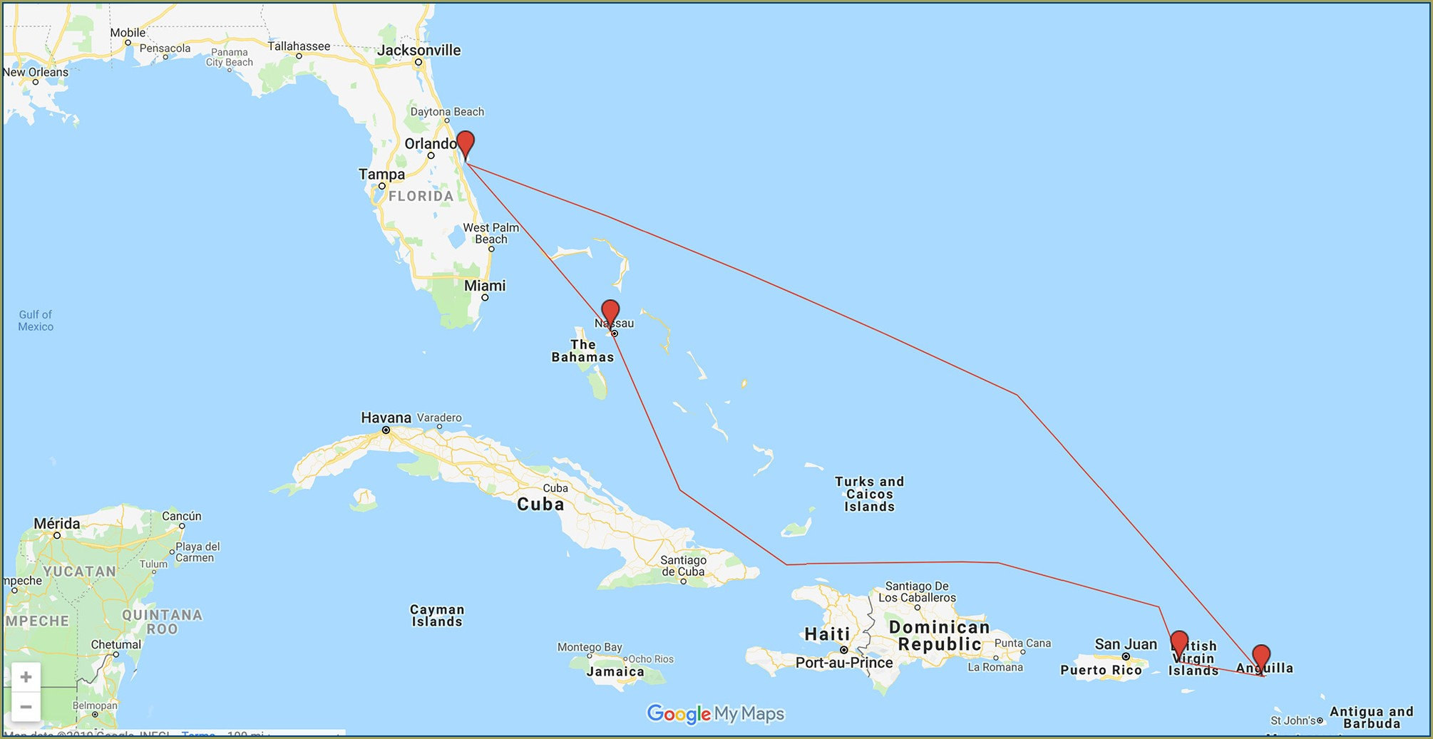 Carnival Cruise Map Of Eastern Caribbean