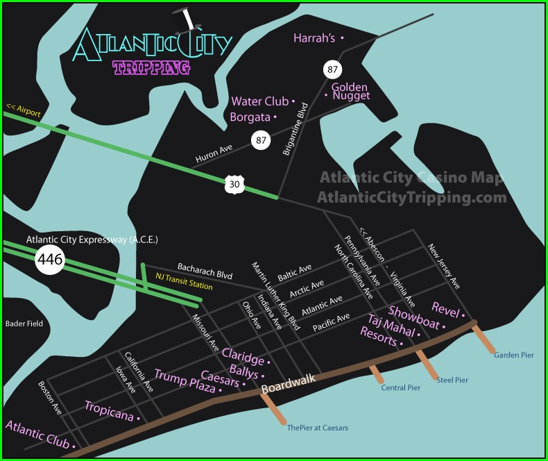 Casinos Atlantic City Boardwalk Map