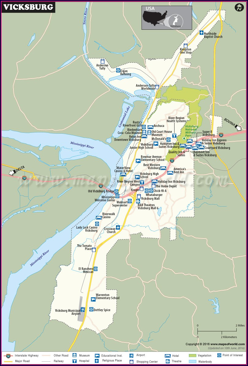 Casinos In Vicksburg Mississippi Map