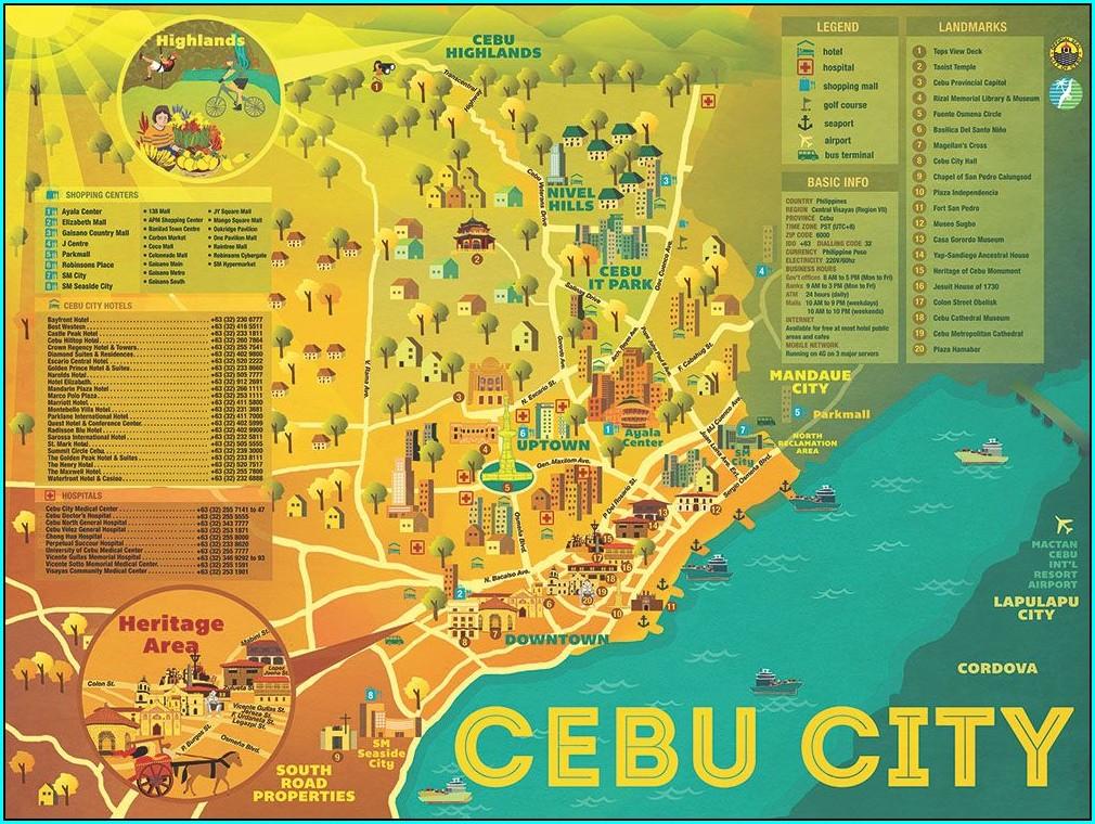 Cebu Map With Tourist Spots