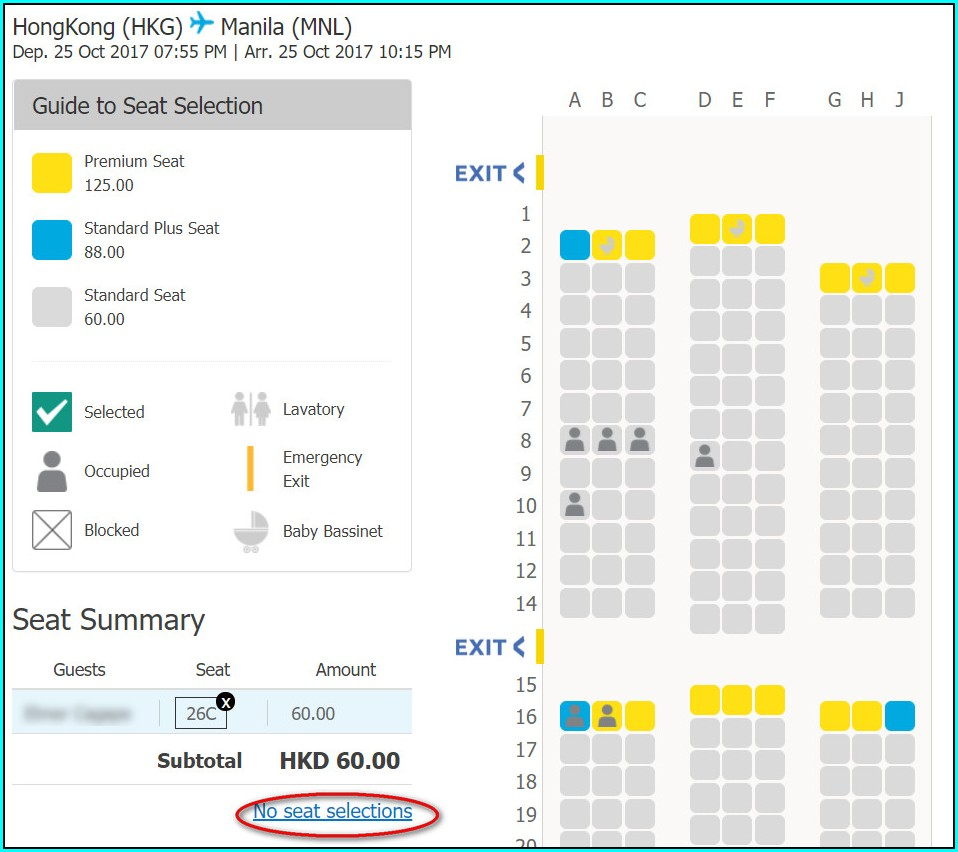 Cebu Pacific Air Seat Map
