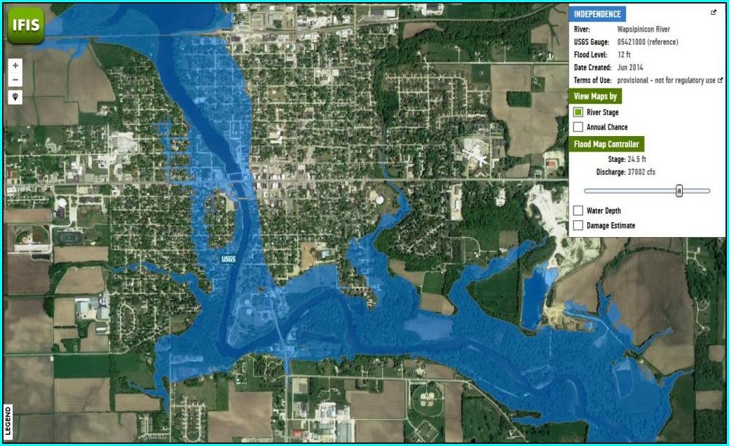 Cedar Rapids 100 Year Flood Map