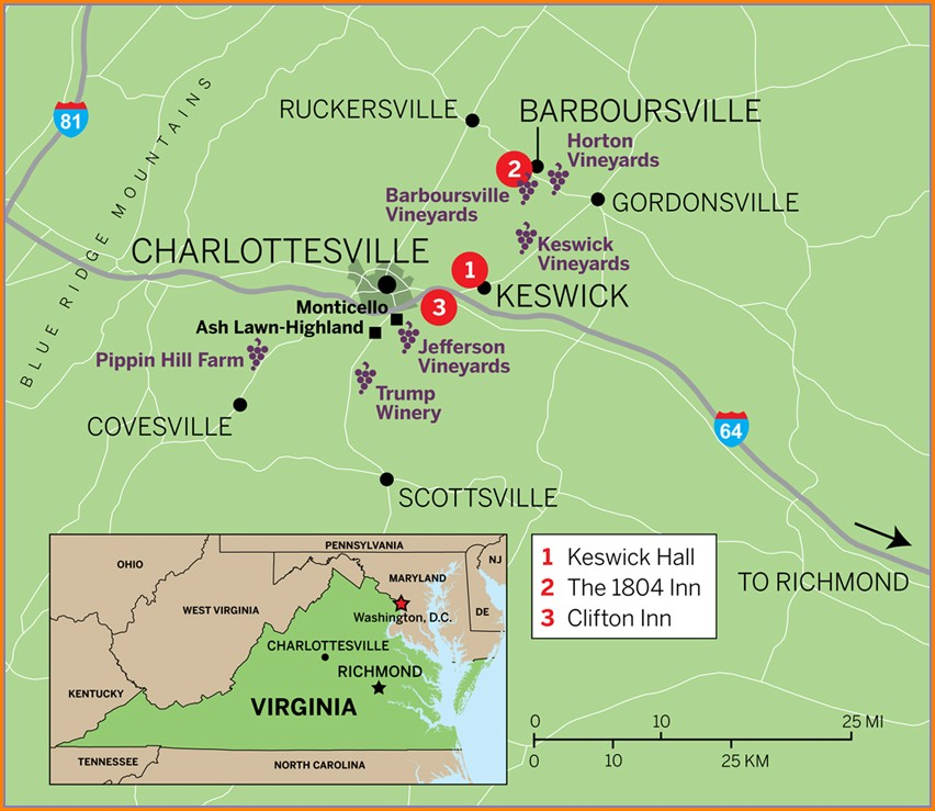 Charlottesville Wine Trail Map