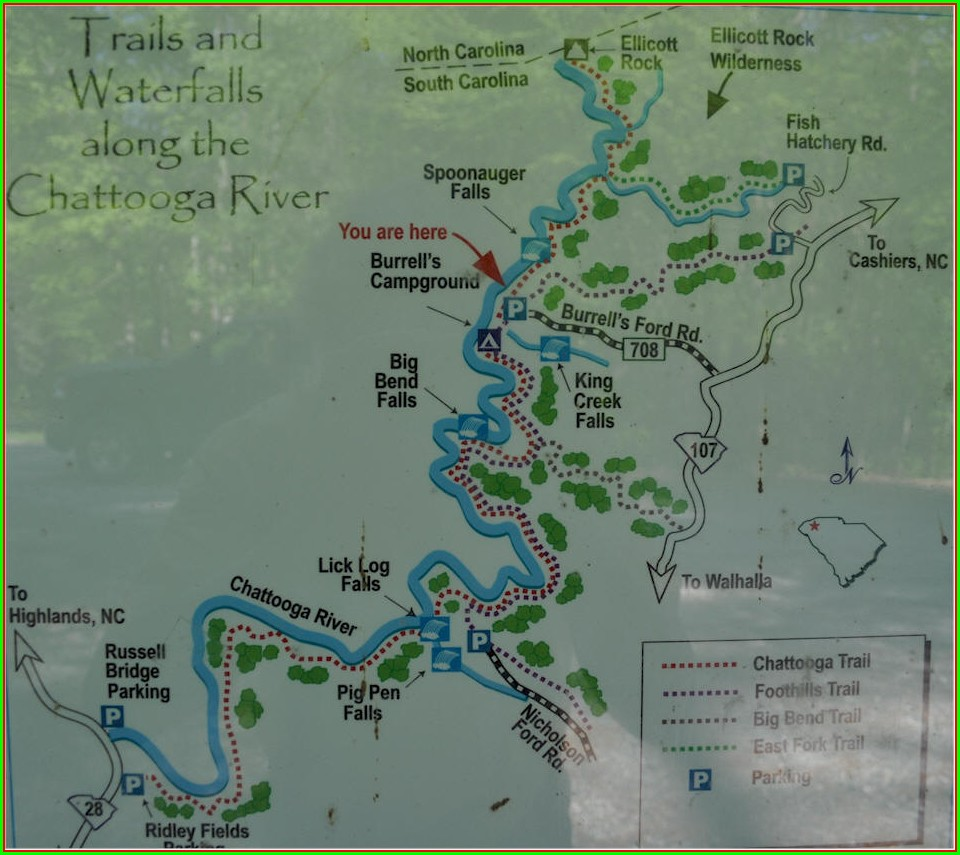 Chattooga River Camping Map