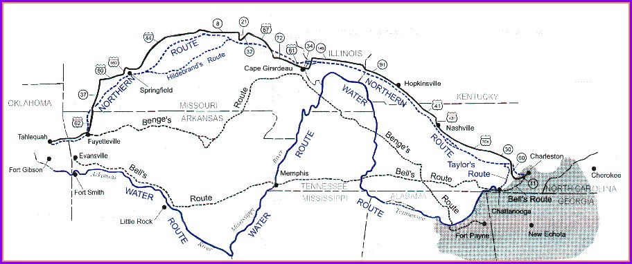 Cherokee Simple Trail Of Tears Map