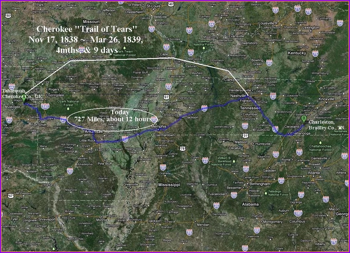 Cherokee Trail Of Tears Map