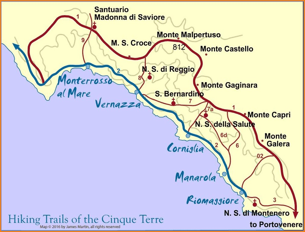 Cinque Terre Walking Trail Map