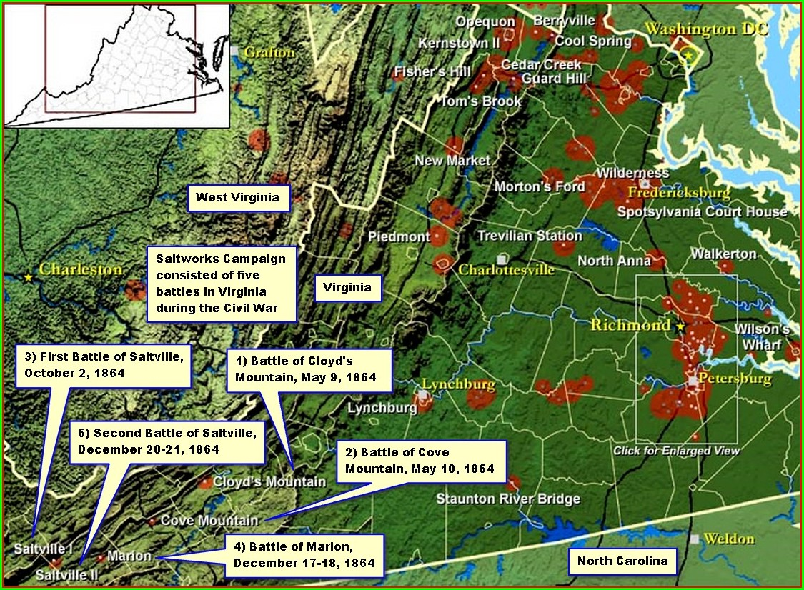 Civil War Battlefields In Virginia Map