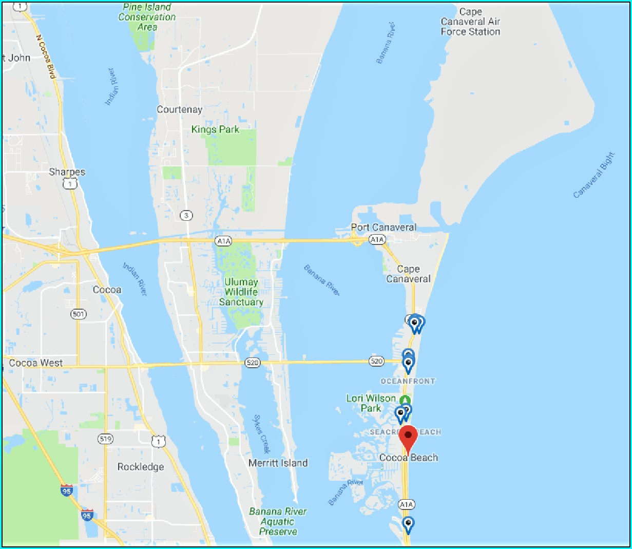 Cocoa Beach Hotel Map