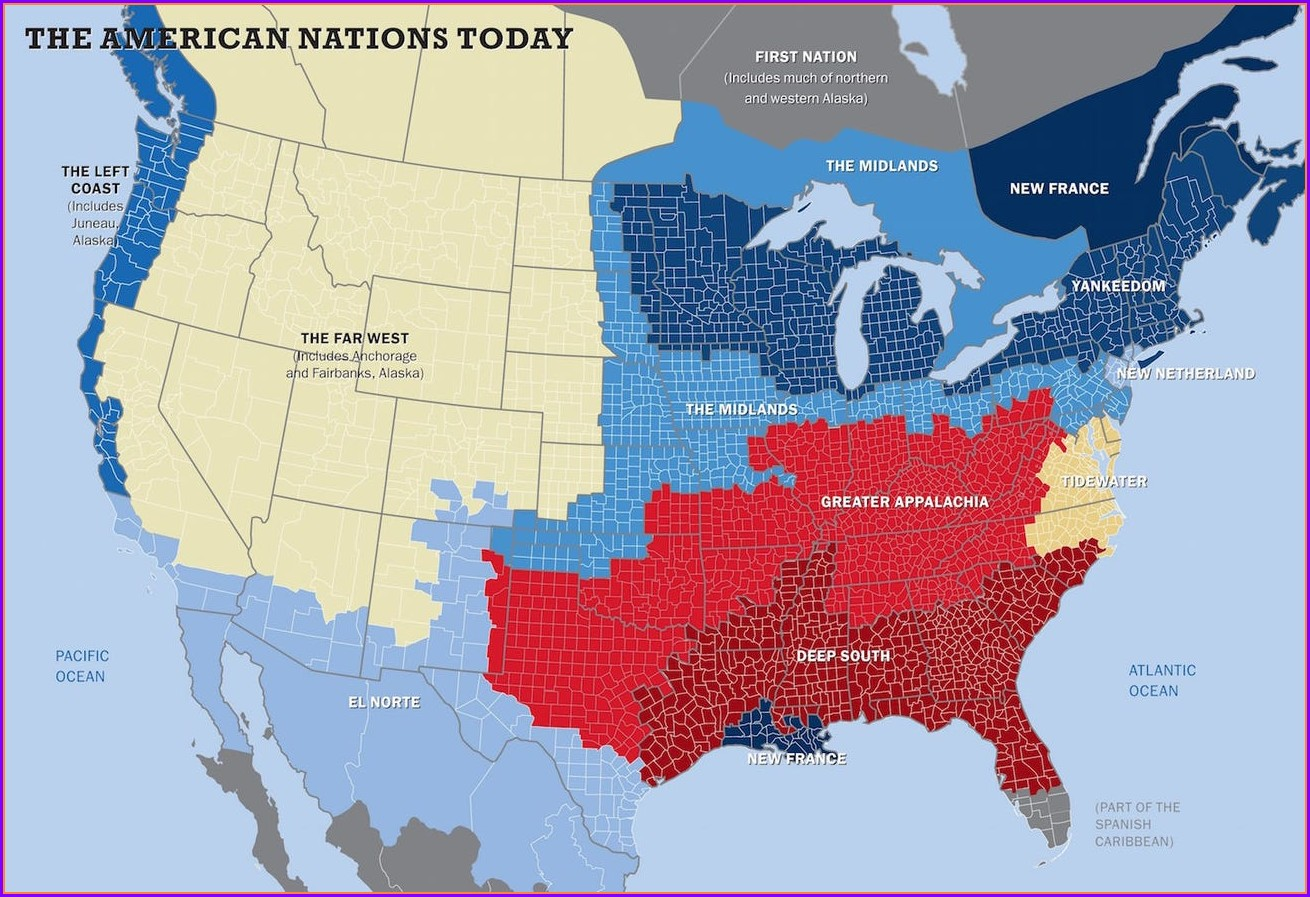 Colin Woodard American Nations Map
