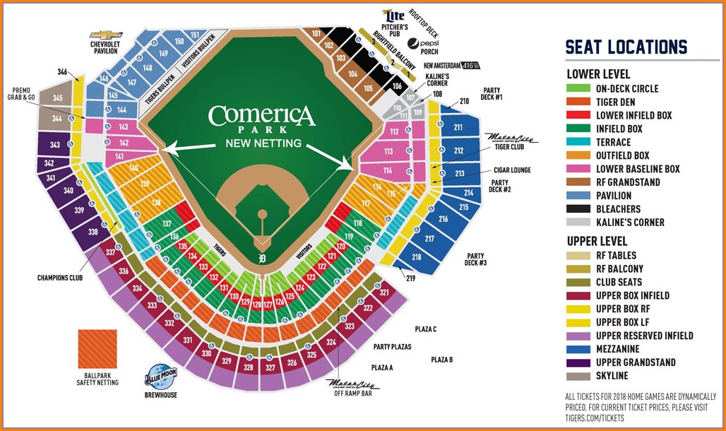 Comerica Park Parking Map Lot 4