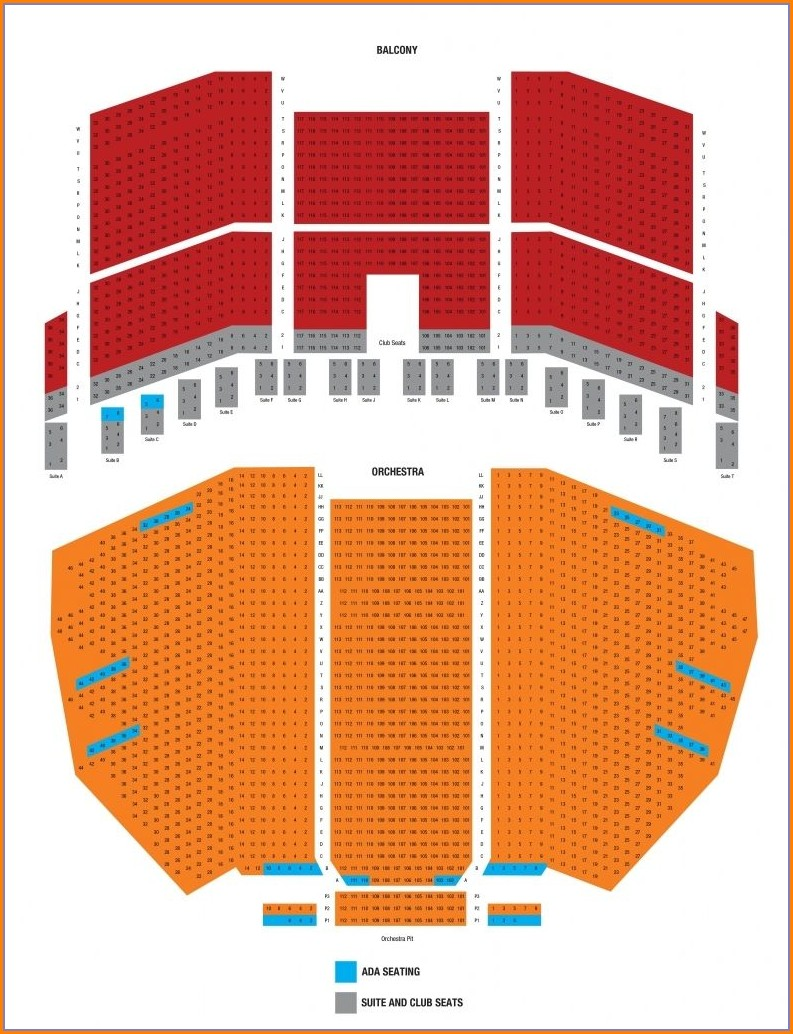 Comerica Theatre Seating Map