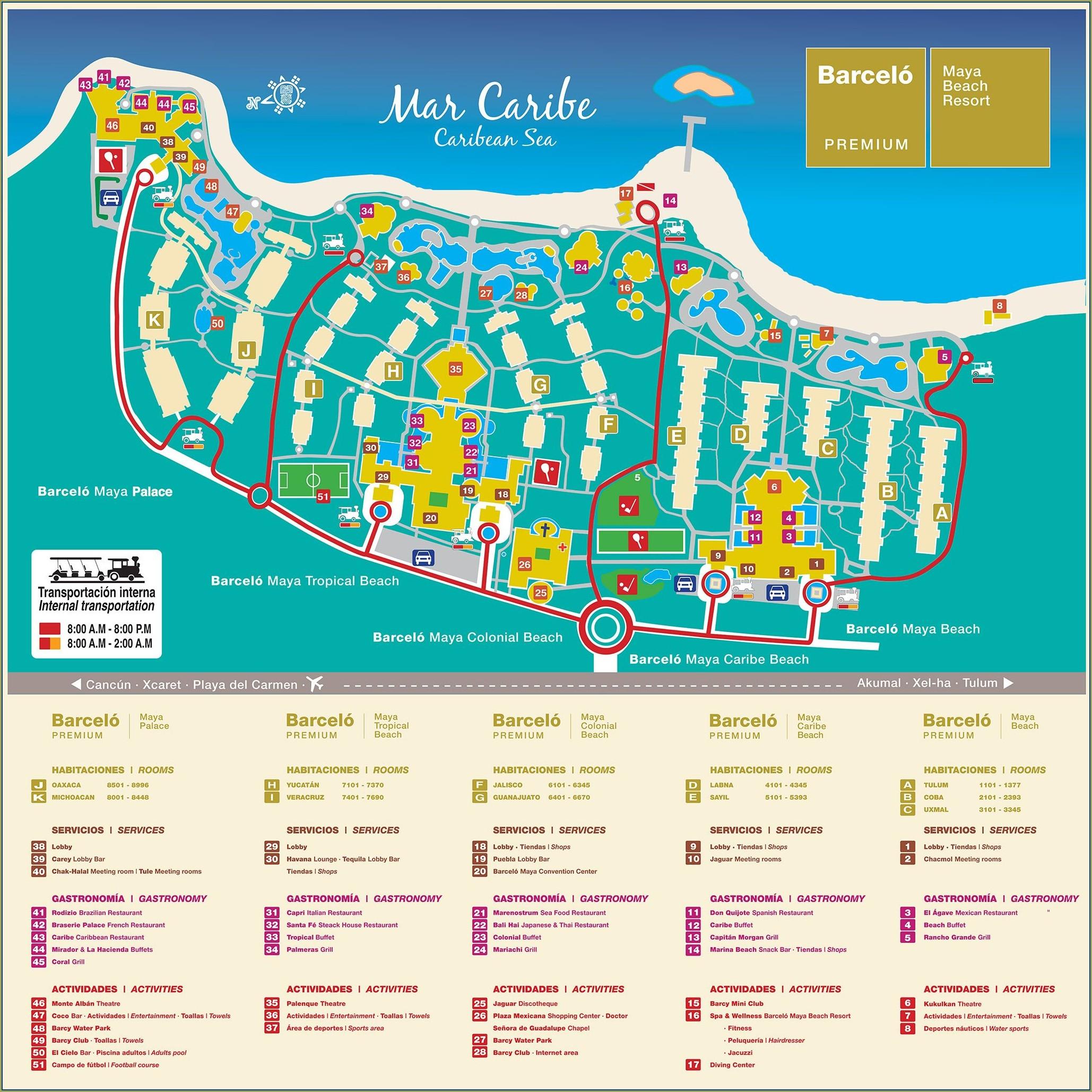 Complejo Barcelo Riviera Maya Mapa