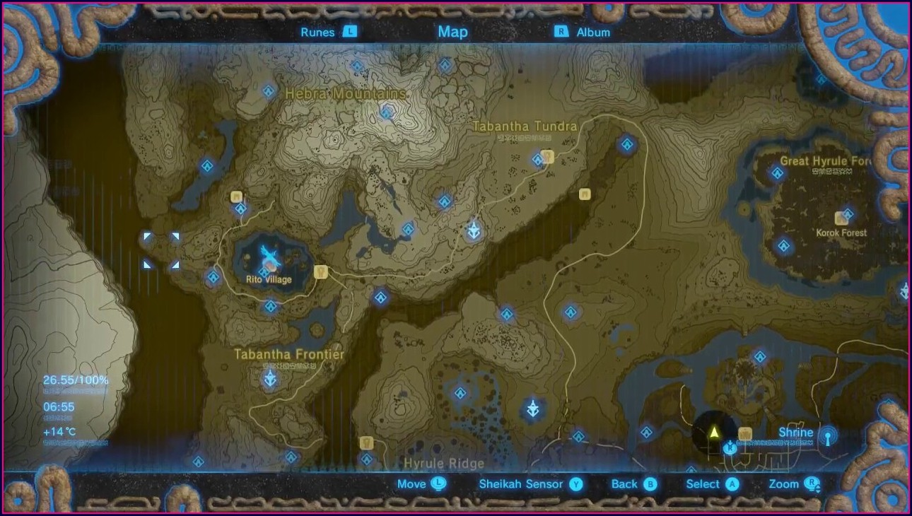Complete Legend Of Zelda Breath Of The Wild Full Map