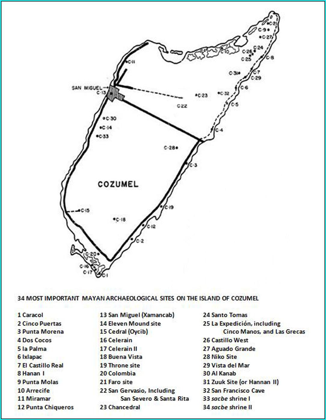 Cozumel Mayan Ruins Map