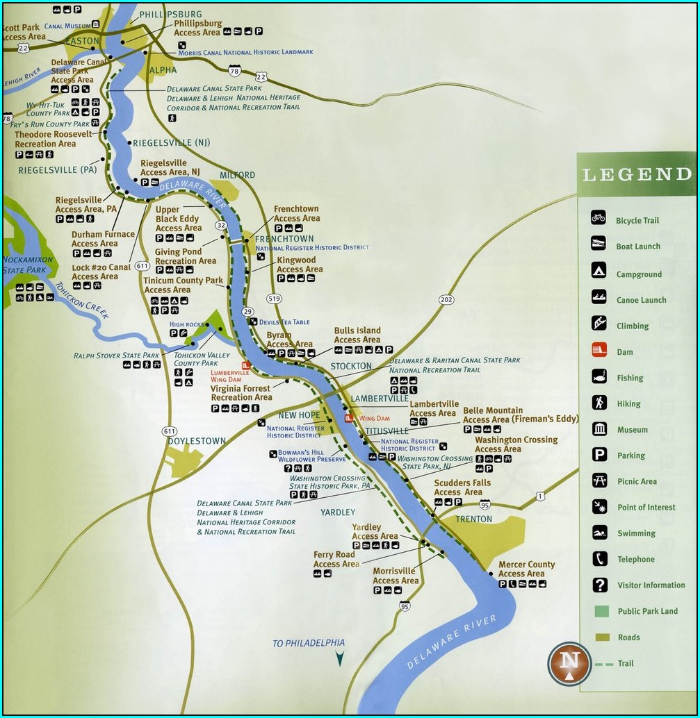 Delaware Canal Towpath Map