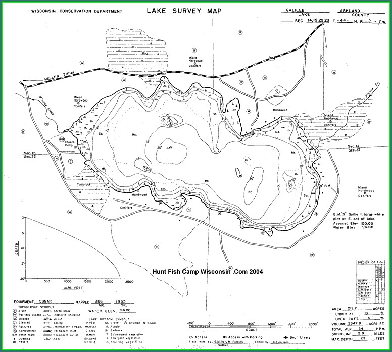Depth Chart Shawano Lake Map
