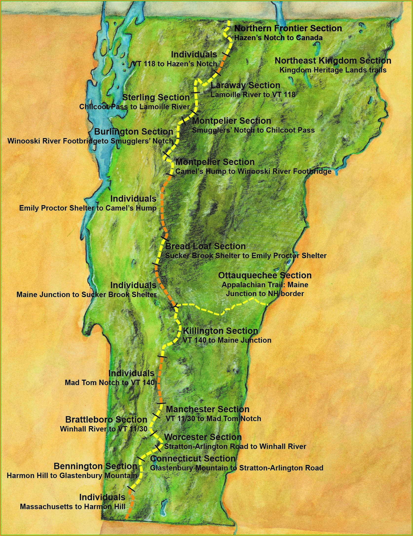 Detailed Appalachian Trail Vermont Map